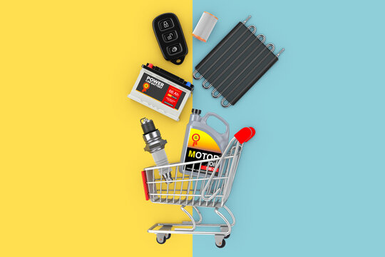 Many Automobile Spares Falling in Shopping Cart. 3d Rendering