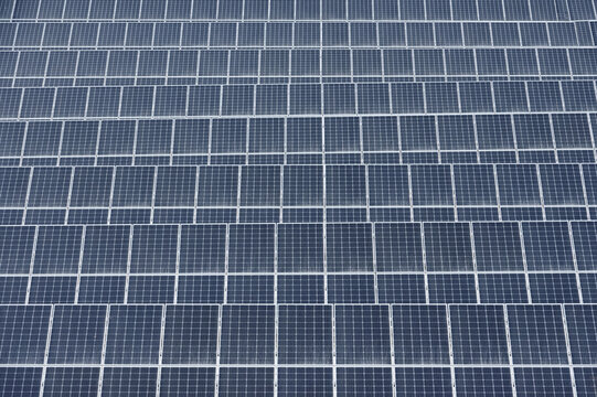 Rows of photovoltaic panels, solar power station pattern
