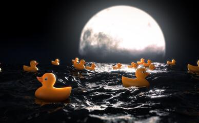 Fototapeta Rubber Ducks and Moon On Water obraz