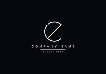 Fototapeta Alphabet CZ monogram logo, CZ EZ CE C Z E line art logo obraz