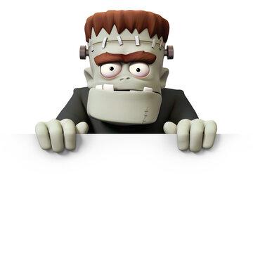 Frankensteins monster 3D character front view billboard