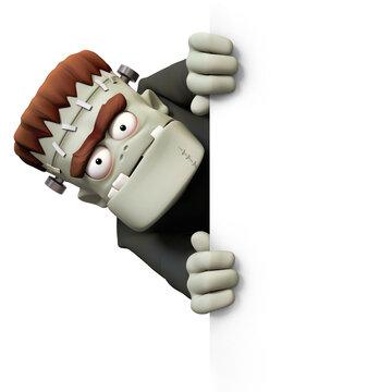 Frankensteins monster 3D character slanted view billboard