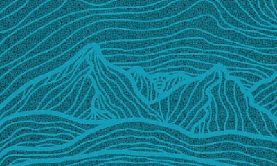 Obraz Niebieski rysunek gór. - fototapety do salonu