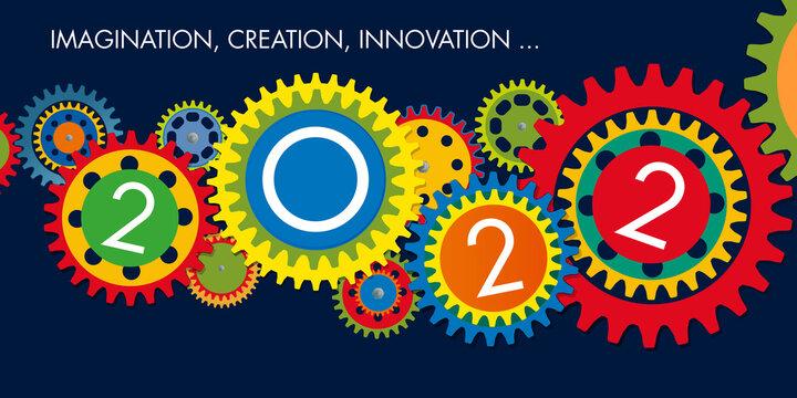 Carte de voeux de présentation, sur le concept de l'innovation et l'esprit d'équipe pour une entreprise, dans le but de réussir ses objectifs 2022.