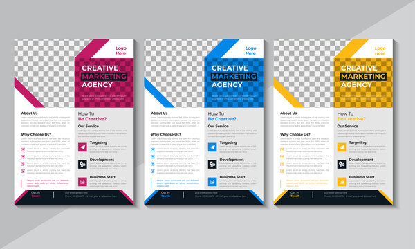 Professional  Corporate Flyer Design, Business Flyer Template, Modern Brochure design, annual report, poster, blue, red, yellow color Vector illustration