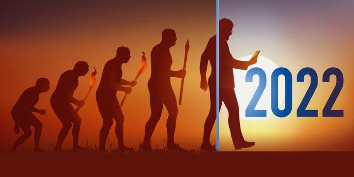 Cette carte de vœux reprend la théorie de l'évolution de Darwin en aboutissant au temps modernes et l'homme d'aujourd'hui qui tient un smartphone dans sa main.