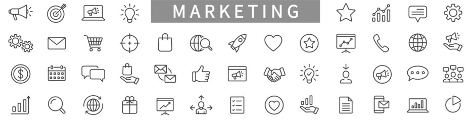 Fototapeta Marketing line icons set. Advertising icon collection. Marketing symbol set. Vector illustration obraz
