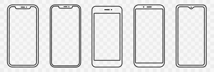 Fototapeta Smartphone outline set. Phone. Mobile phone. Vector illustration obraz