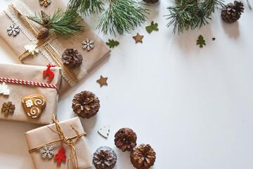 Fototapeta Boże Narodzenie, kartka świąteczna, prezenty i dekoracje świąteczne. Christmas decorations, get a gift.   obraz