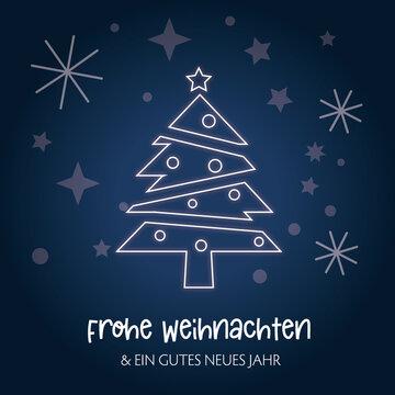 Weihnachtsgrüße mit deutschem Text - Weihnachtsbaum auf blauem Hintergrund