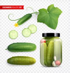 Fototapeta Delicious Cucumbers Realistic Set obraz