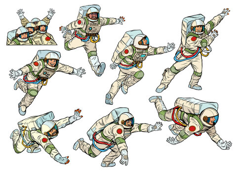 Astronauts collection set. Scientific space exploration. People in spacesuits