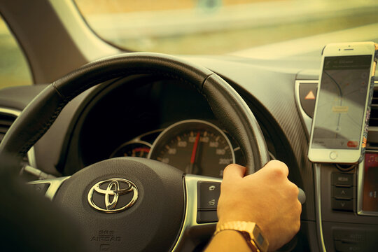 Hand of male driving a car Toyota. 31 August 2018. Speed track Den Haag Amsterdam. Holland