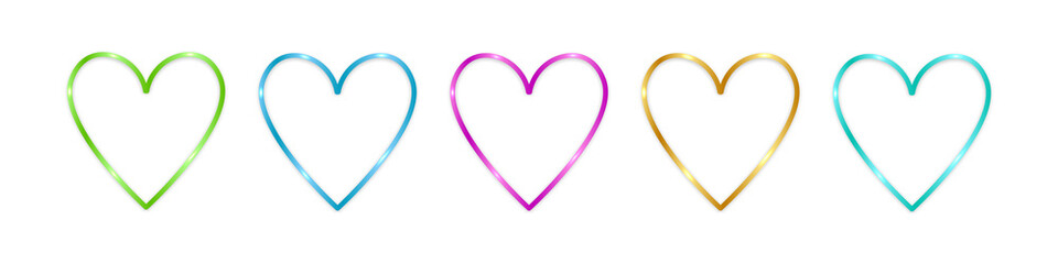 Obraz Colorful shine hearts isolated on white background. Valentines day and holidays decor. Vector illustration. - fototapety do salonu