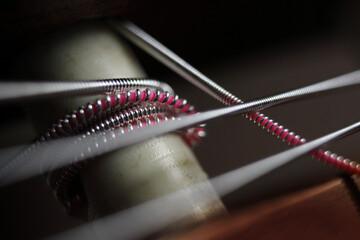 Spanish guitar strings, macro close up