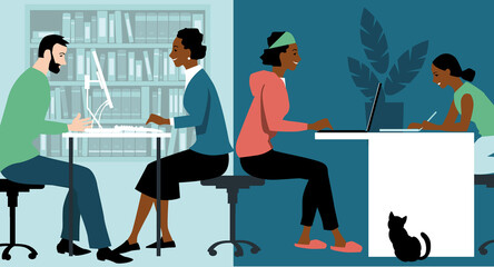 Fototapeta Woman in hybrid work place sharing her time between an office and working from home and helping her daughter study, EPS 8 vector illustration  obraz