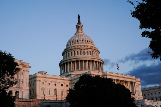 The U.S. Capitol building on Capitol Hill, seen during sunset in Washington