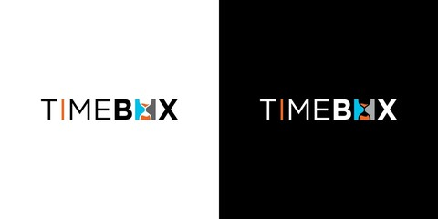 Obraz Modern and unique time box logo design - fototapety do salonu
