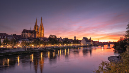 Regensburg bei Sonnenuntergang