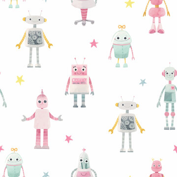 Beautiful seamless baby girl pattern with cute hand drawn watercolor robots. Stock illustration. Autotraced vector.