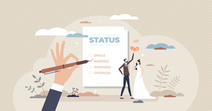 Marital status change with couple relationship type tiny person concept. Checkbox list with single, married, widowed and divorced options for couple vector illustration. Official wedding and marriage.