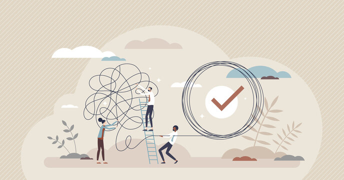 Problem solution as complete difficult and messy task tiny person concept. Business problems solved and challenges successfully done with help or support from professional teamwork vector illustration