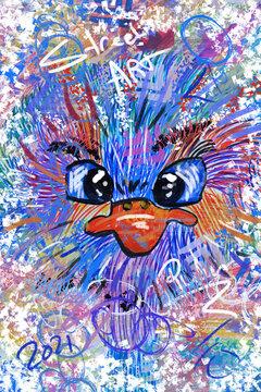 Colorful digital artwork of an crumpy bird.
