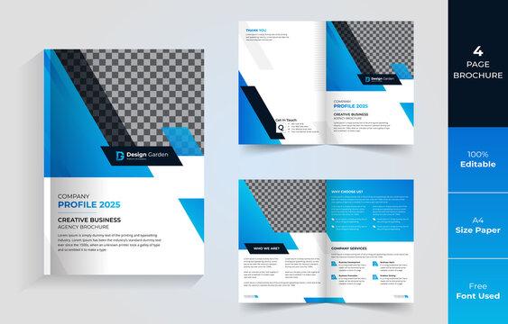 Elegant 4 page Corporate business brochure design vector template