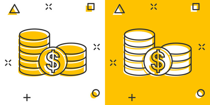 Coins stack icon in comic style. Dollar coin cartoon vector illustration on white isolated background. Money stacked splash effect business concept.