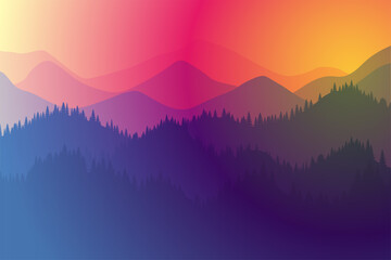 Fototapeta Mountains range morning or evening landscape with fog and forest. Sunrise and sunset play of colors and light in mountain rocks vector horizontal eps illustration obraz