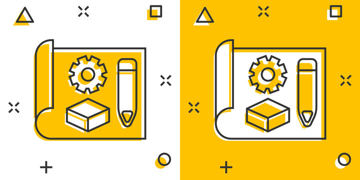 Prototype icon in comic style. Startup cartoon vector illustration on white isolated background. Model development splash effect business concept.