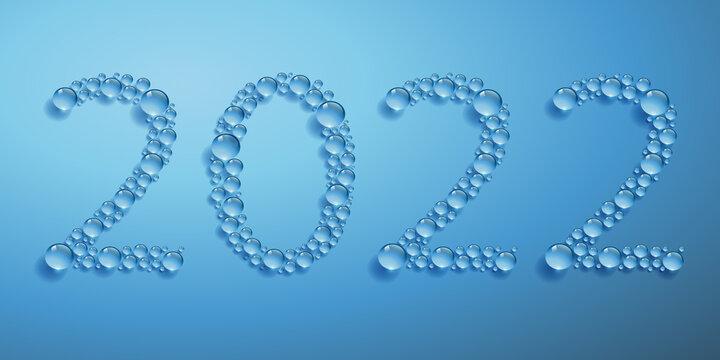 arte de vœux sur le thème de l'environnement et du développement durable avec le concept des gouttes d'eau formant l'année 2022.