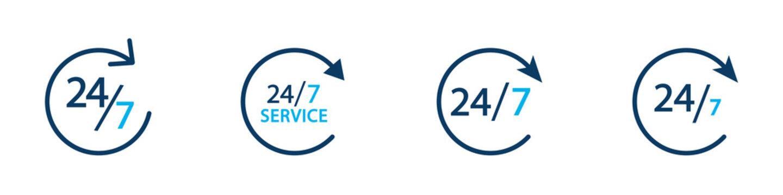 Conjunto de icono de servicio 24/7. Servicio las 24 horas. Atención las 24 horas. Concepto de horario de atención de un negocio. Siempre abierto. Ilustración vectorial, estilo azul