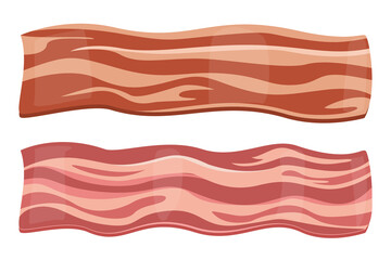 Obraz Bacon vector isolated. Slice of delicious meat, crispy cooked bacon for breakfast. Strip of fresh tasty meal - fototapety do salonu