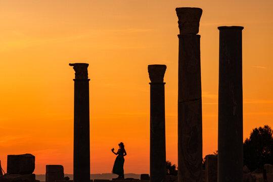 Datça Kinidos ancient city columns and sunset view