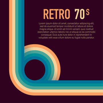 70s, 1970 abstract vector stock retro lines background. Vector illustration