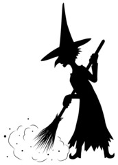 Obraz Old Witch Sweeping Silhouette - fototapety do salonu