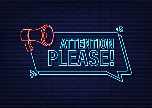 Banner with Attention please. Red Attention please sign neon icon. Exclamation danger sign. Alert icon. Vector stock illustration.