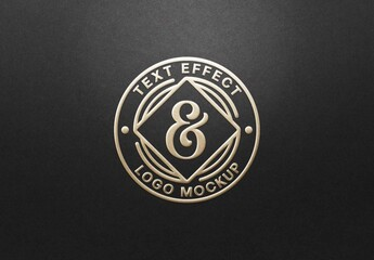 Fototapeta Gold Hot Foil Embossing Logo Mockup obraz