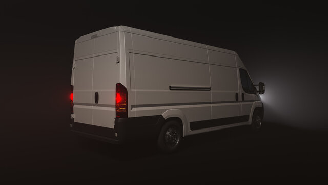 Rear and Side View of a Delivery Van in the Dark with the Headlights On 3D Rendering