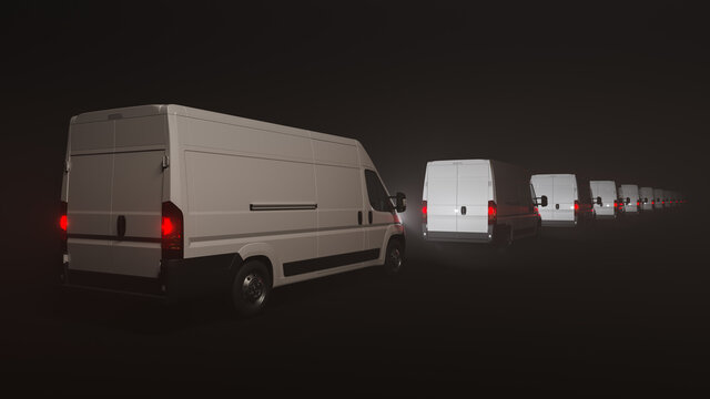 Convoy of White Delivery Vans in the Dark 3D Rendering