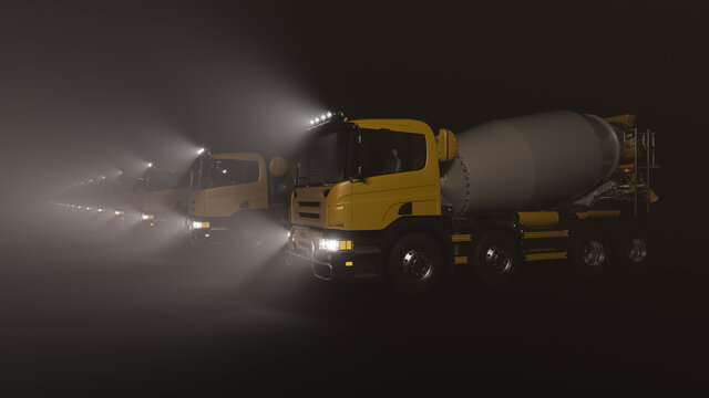 Side View of a Convoy of Cement Mixers in the Dark with the Headlights On 3D Rendering