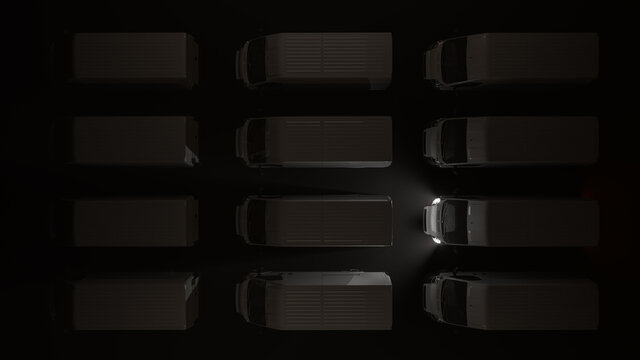 Top View of White Delivery Vans Parked in the Dark 3D Rendering
