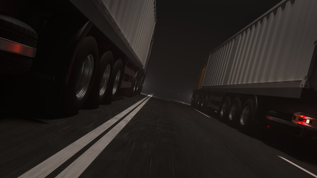 Low Angle View of Two Container Trucks Moving Side by Side on the Road at Night 3D Rendering