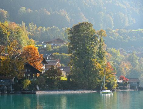 Autumn landscape around Lake Brienz