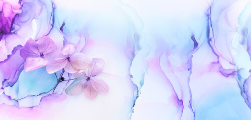 Fototapeta Creative image of pastel blue and purple Hydrangea flowers on artistic ink background. Top view with copy space obraz