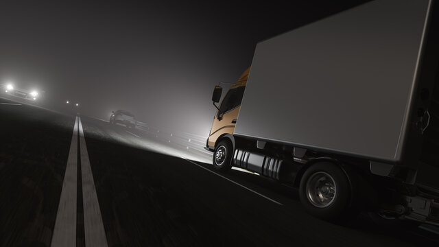 Low Angle View of a Box Truck on the Road at Night with Other Vehicles 3D Rendering