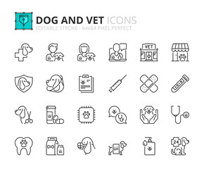 Obraz Simple set of outline icons about dogs and vet. Pets. - fototapety do salonu