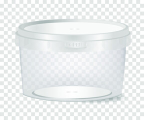 Obraz Plastic container  with a capacity of 0.5 liter for food on a transparent background. Vector illustration. - fototapety do salonu