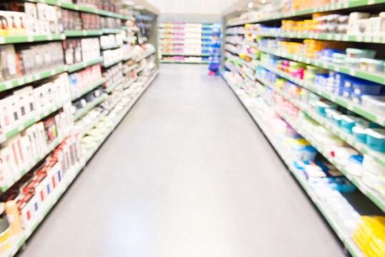 Market shop or supermarket interior as blurred store background